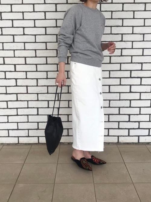 [BEAUTY&YOUTH UNITED ARROWS] <LEE>ボタンスリットタイトスカート/ホワイト
