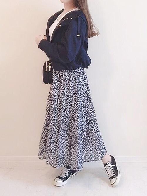 小花柄スカート7