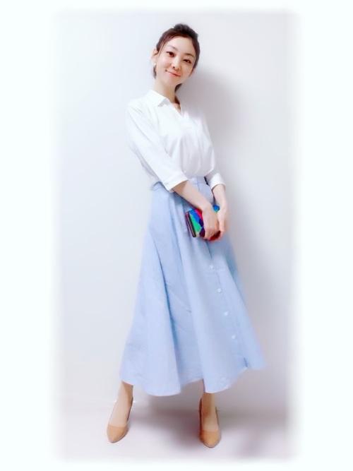 ユニクロのスキッパーシャツコーデ スカート