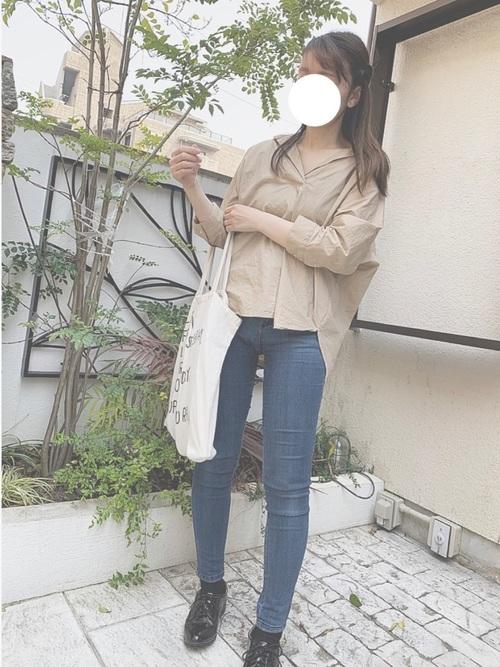 GUのスキッパーシャツコーデ デニム