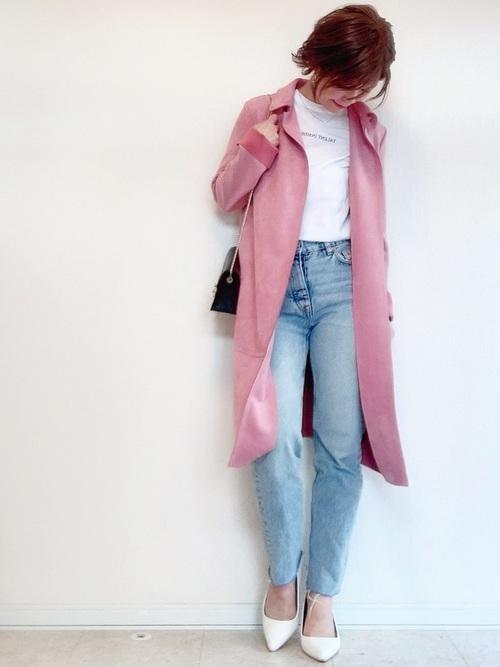 白 トップス ピンク アウター