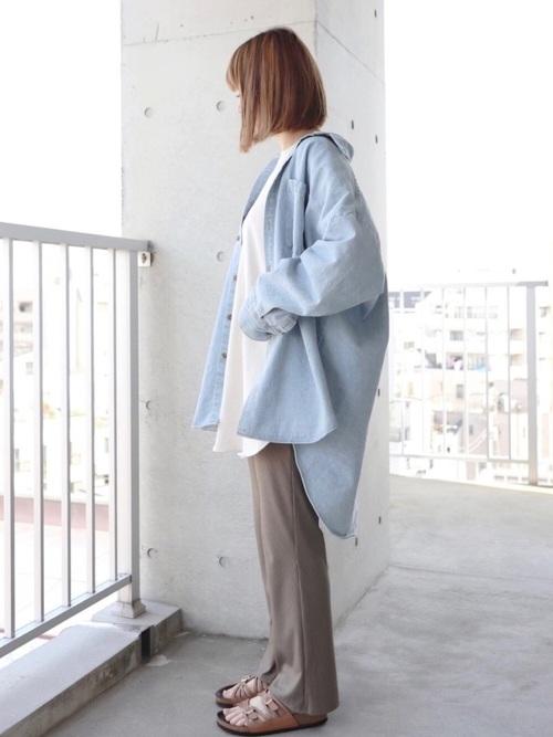 デニムシャツ×GUパンツ