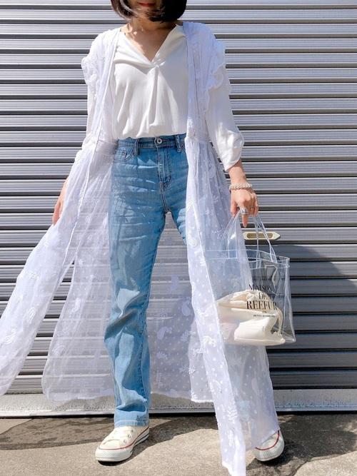 白のスキッパーシャツ カーディガン