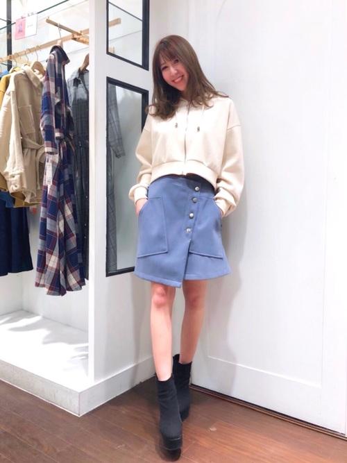 [REDYAZEL] アシメ台形ミニスカート