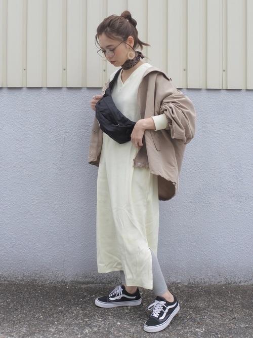 [aranciato] 「KHA:KI / カーキ」サイドスリットキーネック七分袖ワンピースKEY NECK DRESS