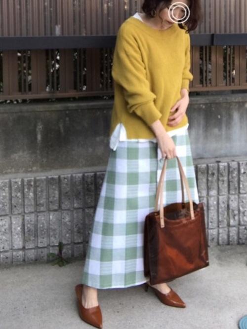 [merlot] ブロックチェック柄ロングスカート2773