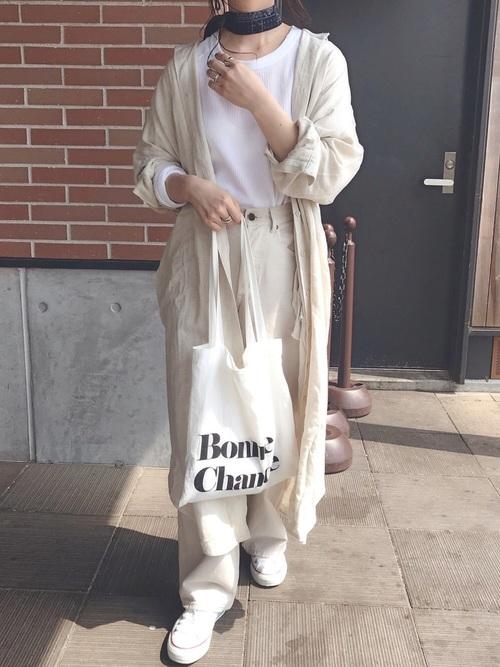 [antiqua] 麻混素材ロングシャツ
