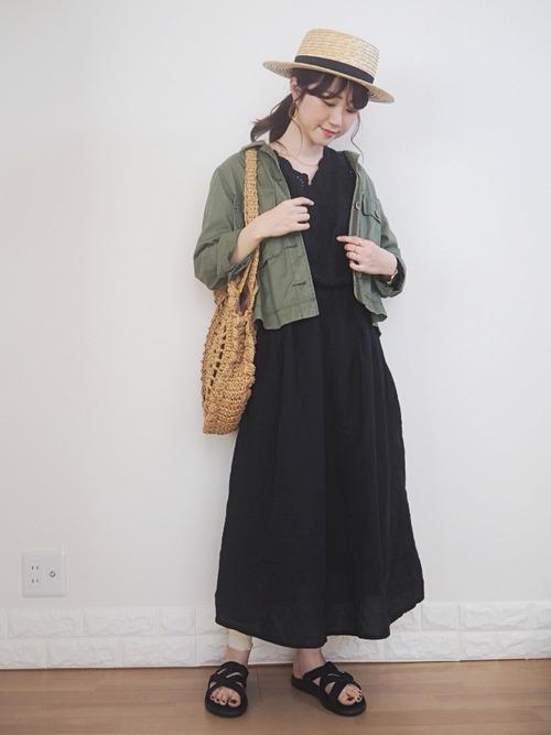 [Green Parks] カットワ-ク刺繍9分丈ワンピ-ス