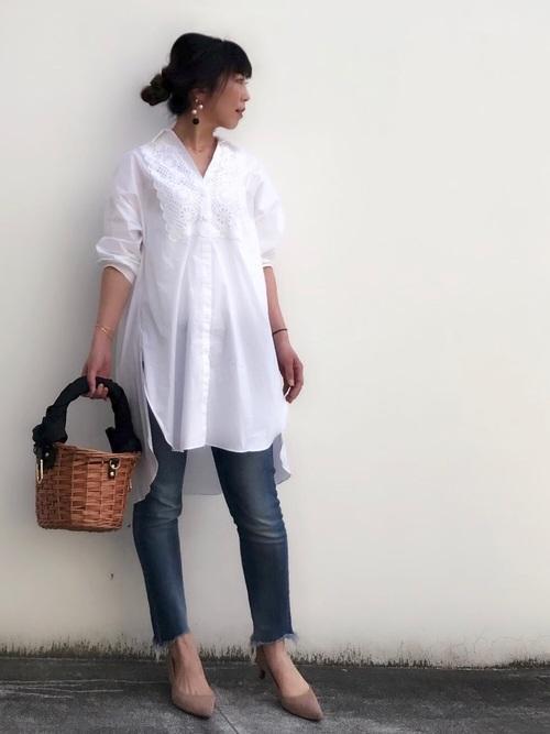 ZARAのホワイトシャツコーデ2