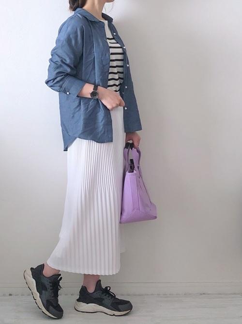 [NOLLEY'S] パール釦テンセルデニム裾2-WAYシャツ2