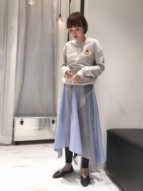[GUILD PRIME] 【LOVELESS】WOMEN ストライプブロッキングスカート