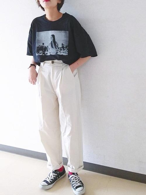 《黒》ビッグTシャツコーデ2