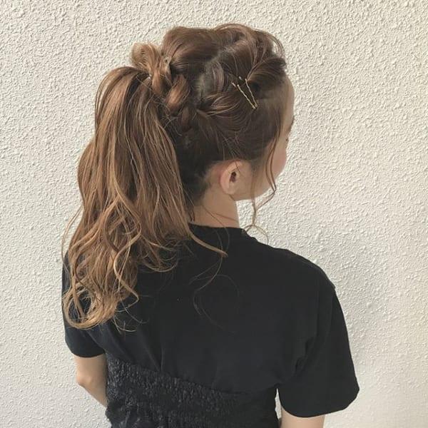 ロングヘアのまとめ髪①ポニーテール・編み込み20