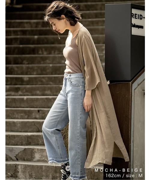 [Re:EDIT] レーヨン楊柳ロングガウンカーディガン