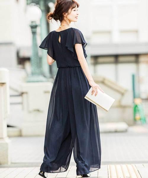 [Fashion Letter] フリル袖 オールインワンパンツドレス