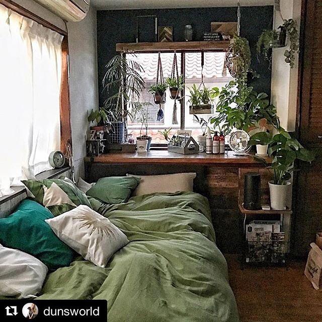 寝室インテリア グリーン3