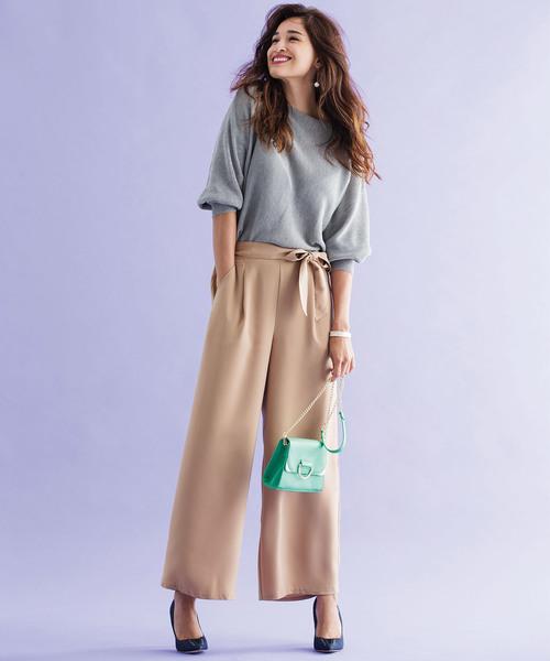 [Ranan] 美シルエットリボン付ワイドパンツ