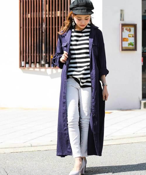[Fashion Letter] レーヨン ベルト付き 2way ロングシャツワンピース