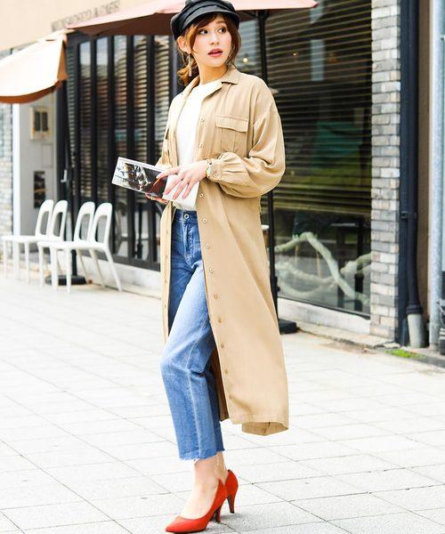 [Fashion Letter] レーヨン ベルト付き 2way ロングシャツワンピース2