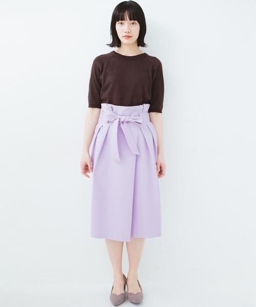 [haco!] こんな服着てデートしたい! ウエストリボンの女っぽスカート