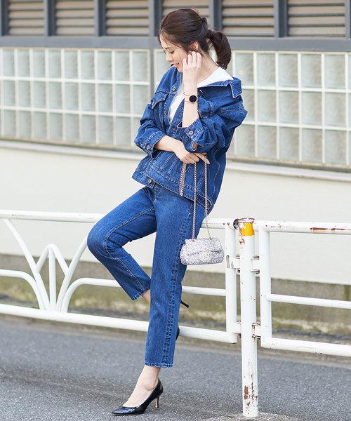 [Loungedress] 【YANUK×金子綾コラボレーションデニム】ハイライズスリムテーパードパンツ2