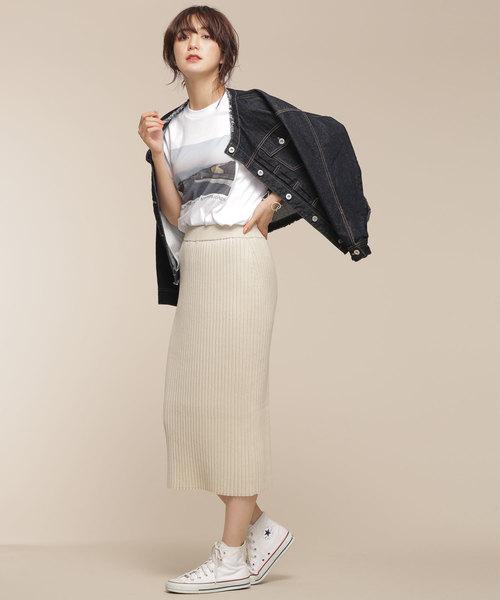 [nano・universe] 【CLASSY 1月号掲載】【CLASSY 1月号掲載】ワイドリブIラインスカート