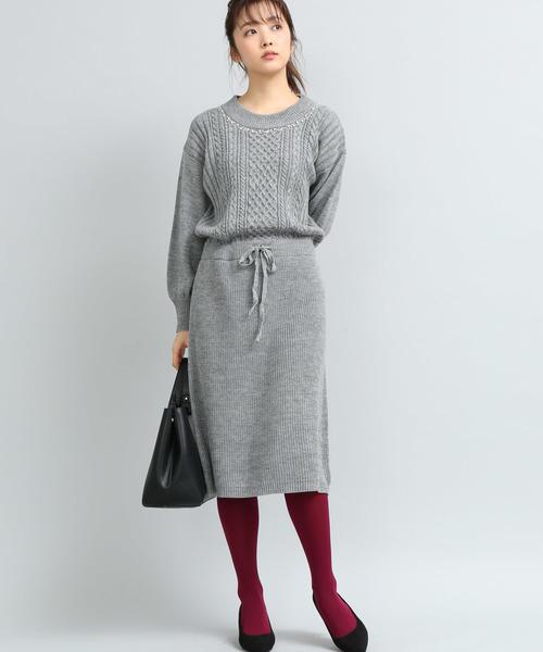 [ViS] 衿ビジュー付ニットワンピース