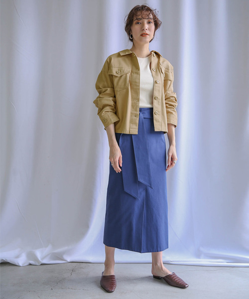 [select MOCA] ミリタリーツイルジャケット(ルーズシルエットフロントボタン長袖ジャケット)
