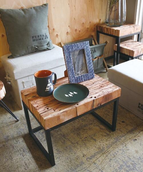 [haco!] FESTA HOME リサイクルウッド ピールアップレクトテーブル