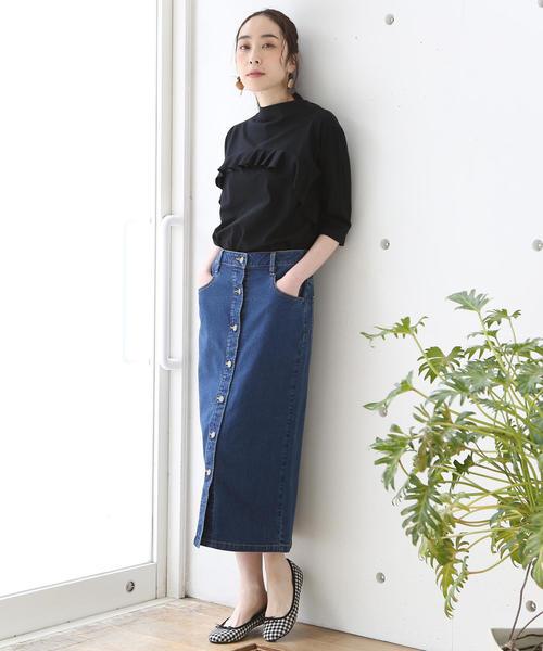 [coen] フロントボタンストレッチデニムタイトロングスカート