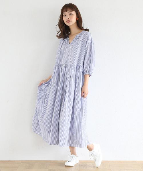 [coen] 【19SS新作・Market】ウエストギャザーマキシワンピース (ストライプ・ギンガムチェック)