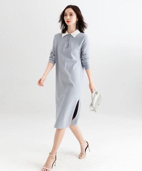 [SAISON DE PAPILLON] ポロシャツ風ロング丈ニットワンピース