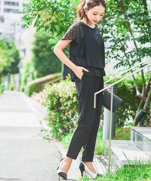 [Fashion Letter] レーストップス×テーパードパンツ セットアップ ドレス