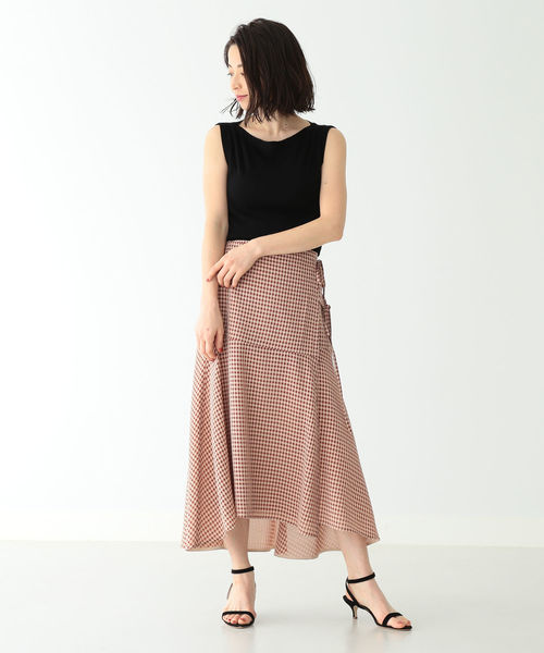 [BEAMS WOMEN] THE IRON / ギンガムチェック アシンメトリーラップスカート
