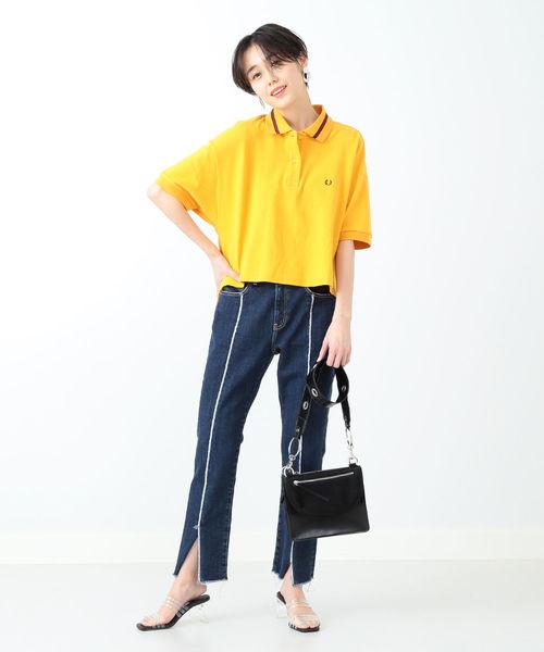[BEAMS WOMEN] FRED PERRY × Ray BEAMS / 別注 クロップド ポロシャツ