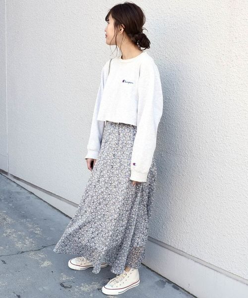 [SHIPS for women] Khaju:フラワープリントロングスカート