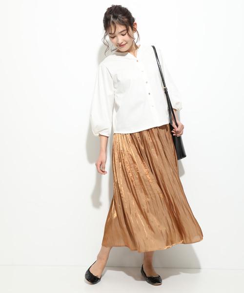 [ViS] 【新色追加】シャイニーサテンフェードアウトプリーツスカート