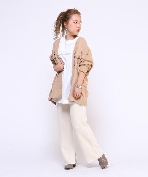 [CIAOPANIC] 【追加生産】テンセルVカラーシャツジャケット/ミリタリージャケット/スプリングコート/サファリジャケット