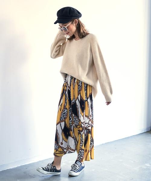 [Auntie Rosa] 【Holiday】プリーツスカーフ柄スカート◆ZOZOTOWN限定◆