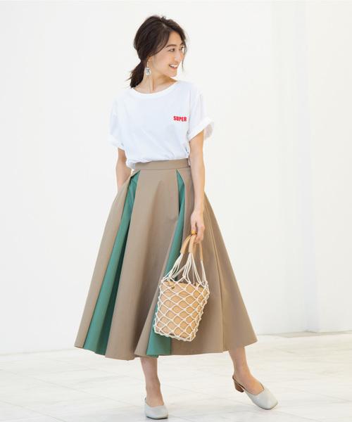 【MAKI KANEKO ×BANNER BARRETTコラボ】配色フレアスカート