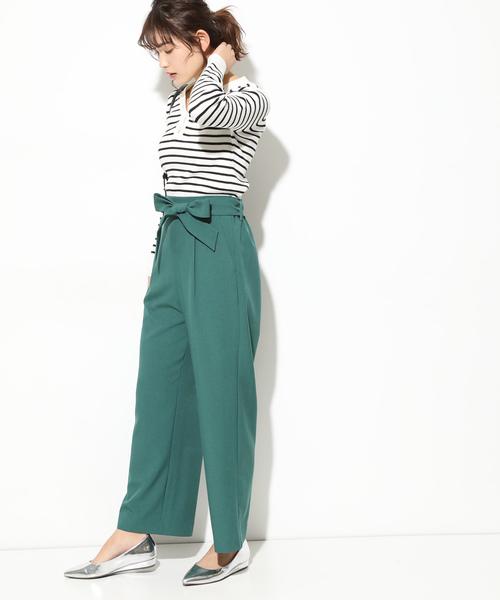 [ViS] 【泉里香さん着用】【EASY CARE】ベルト付ワイドパンツ