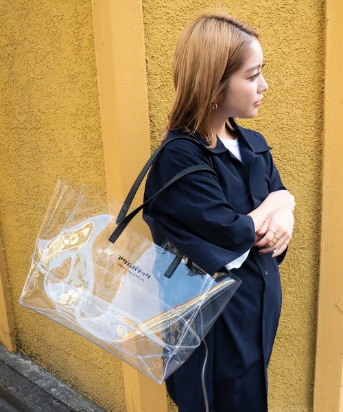 [THE CASE] 【ADAMPATEK】 BVOROUGH / CLEAR LEATHER HANDLE PVC TOTE