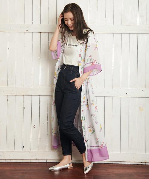 [Noela] フラワースカーフ柄ワンピ2