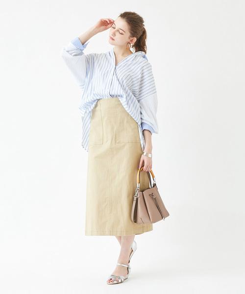[titivate] パターンストライプオーバーサイズシャツ