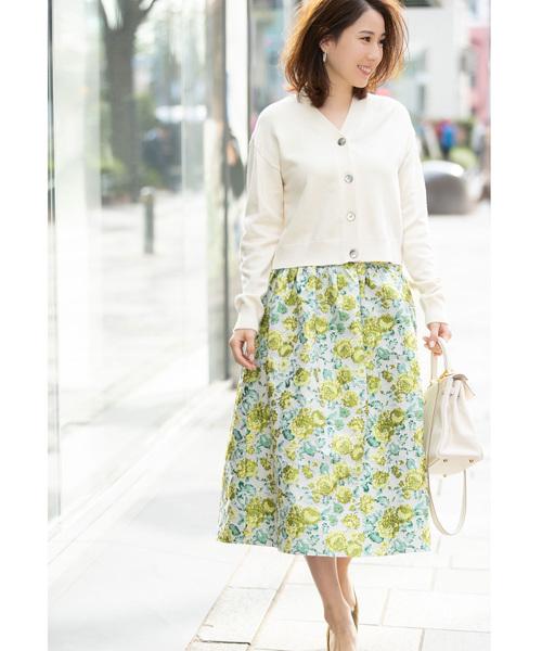 [tocco closet] 《高田麻紀子さんコラボ》フラワージャガード切替フレアスカート