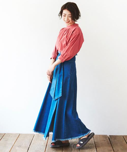 [STYLE AVENUE] デニムロングスカート【大きいサイズ対応】