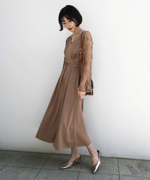 [Ameri VINTAGE] LACE SLEEVE REFINED DRESS