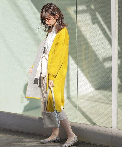 [natural couture] ダブルフェイス上品ロングカーディガン