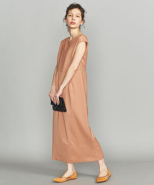 [BEAUTY&YOUTH UNITED ARROWS] BY DRESS ツイルタックフレンチスリーブロングドレス