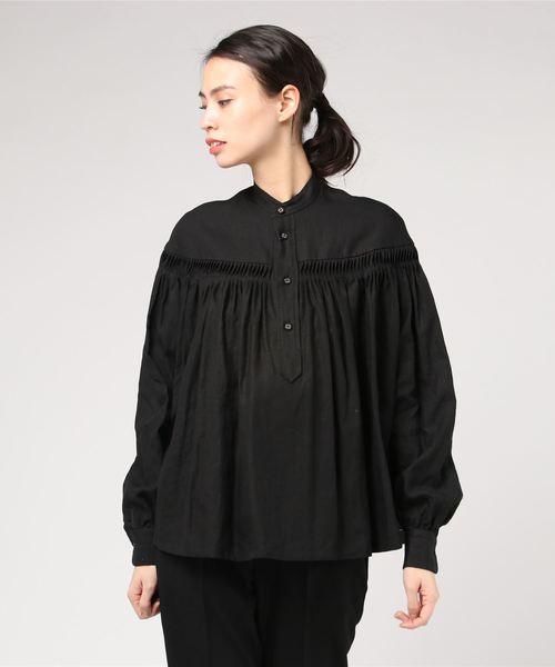 [Bshop] 【Scye】長袖リネンタックシャツ WOMEN